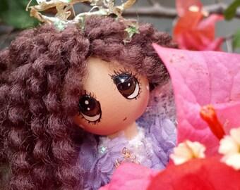 "come see a little PURPLE ORCHID ANGEL....trinket box, 4.5"" kawaii angel doll, island aloha angel, whimsical wood doll, handmade in hawaii"