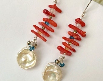 Keishi Pearl Earring, Red Coral, Multicolor Gemstone Wrapped Cluster, Colorful Summer Earrings, Resort Jewelry Statement Earrings, Red White