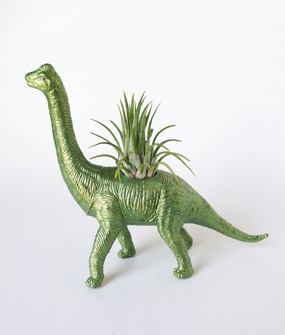 Dinosaur Planter with Air Plant Room Decor, College Dorm Ornament, Plants and Edibles, Metallic Green