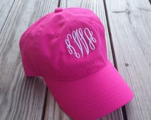 Pink Monogrammed Hat - Womens Hat, Bridesmaids Gifts, Monogrammed Cap