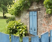 France Photography, Blue shutters in the South of France, Martel, Summer, Roses,Nature, Pink, bathroom wall art,French Wall Art