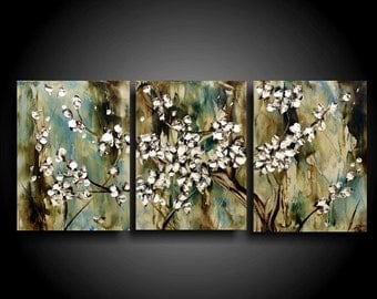 Abstract Painting Original Painting Encaustic Painting Modern Painting 3 piece Art Canvas Wall Art White Tree Painting The Raw Canvas