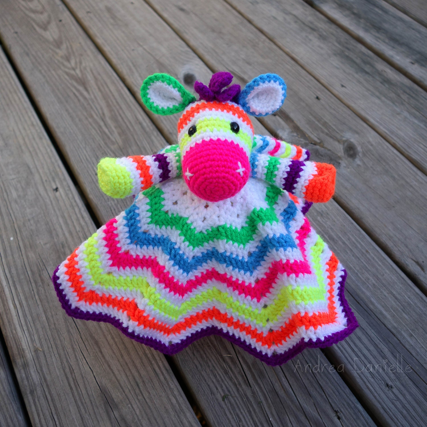 Zoe the Zebra Crochet Lovey/ Security Blanket: by AndreaDanielle