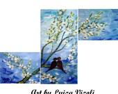 "Birds Landscape Romance Original Painting HELLO LOVE by Luiza Vizoli, Large Painting, Perfect wedding gift, 40""x24"""