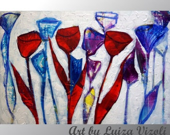 TULIPS Abstract Original Painting Flowers Modern Art White Red Blue Purple HIDDEN GEOMETRY