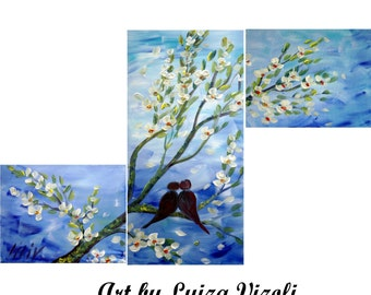 "Birds Landscape Romance Original Painting HELLO LOVE by Luiza Vizoli, Large Painting, Perfect wedding gift, 40""x24"""