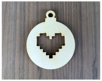6 Pieces- Christmas Ornament Shapes Round/Ball With Pixel Hearts Craft Wood Shapes