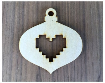 6 Pieces- Christmas Ornament Shapes With Pixel Hearts/ Vintage Style Craft Wood Shapes