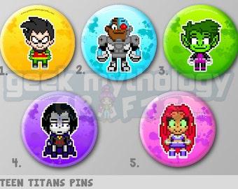 "Teen Titans Pixel Art 1.5"" Pin Button or Magnet - Robin | Starfire | Raven | Beast Boy | Cyborg"