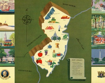 VIntage Pictorial Map of New Jersey 1939 World's Fair