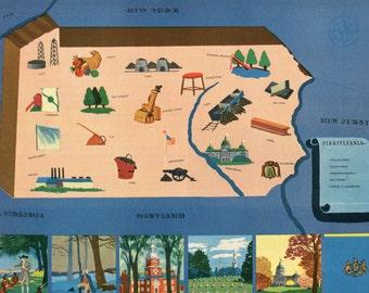 VIntage Pictorial Map of Pennsylvania 1939 World's Fair