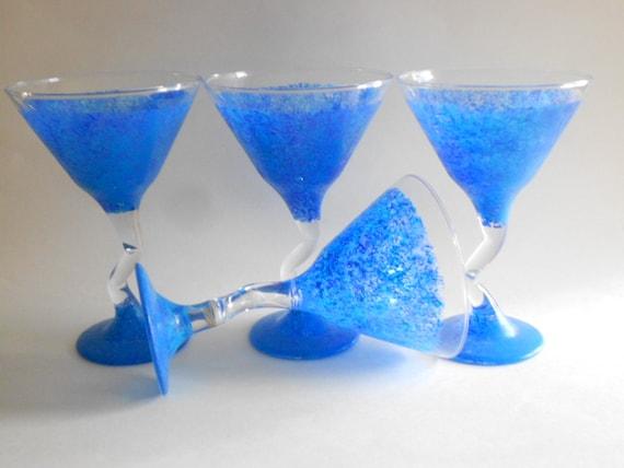 Cobalt Blue Stem Margarita Glasses 70