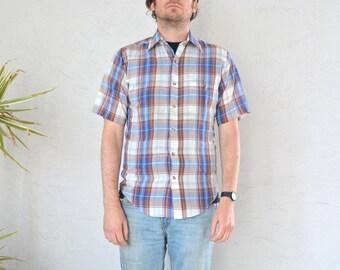 SALE / vintage men's '70s brown & BLUE PLAID short sleeve button-up shirt. size s (slim fit).