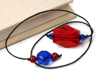 Red Blue Beaded Bookmark Book Thong Book Cord String Bookmark Gift under 5 Book Club Teacher Gift