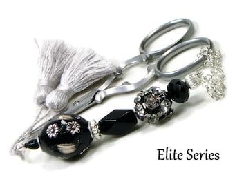 Scissor Fob Elite Series Modern Scissor Keeper Scissor Minder Black Silver Beaded