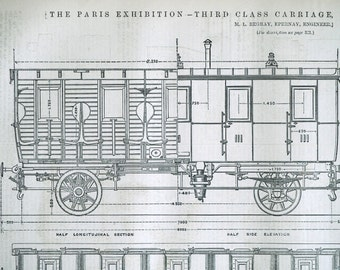 1878 English Antique Engraving of an Railway Carriage - Eastern Railway of France - Third Class Carriage