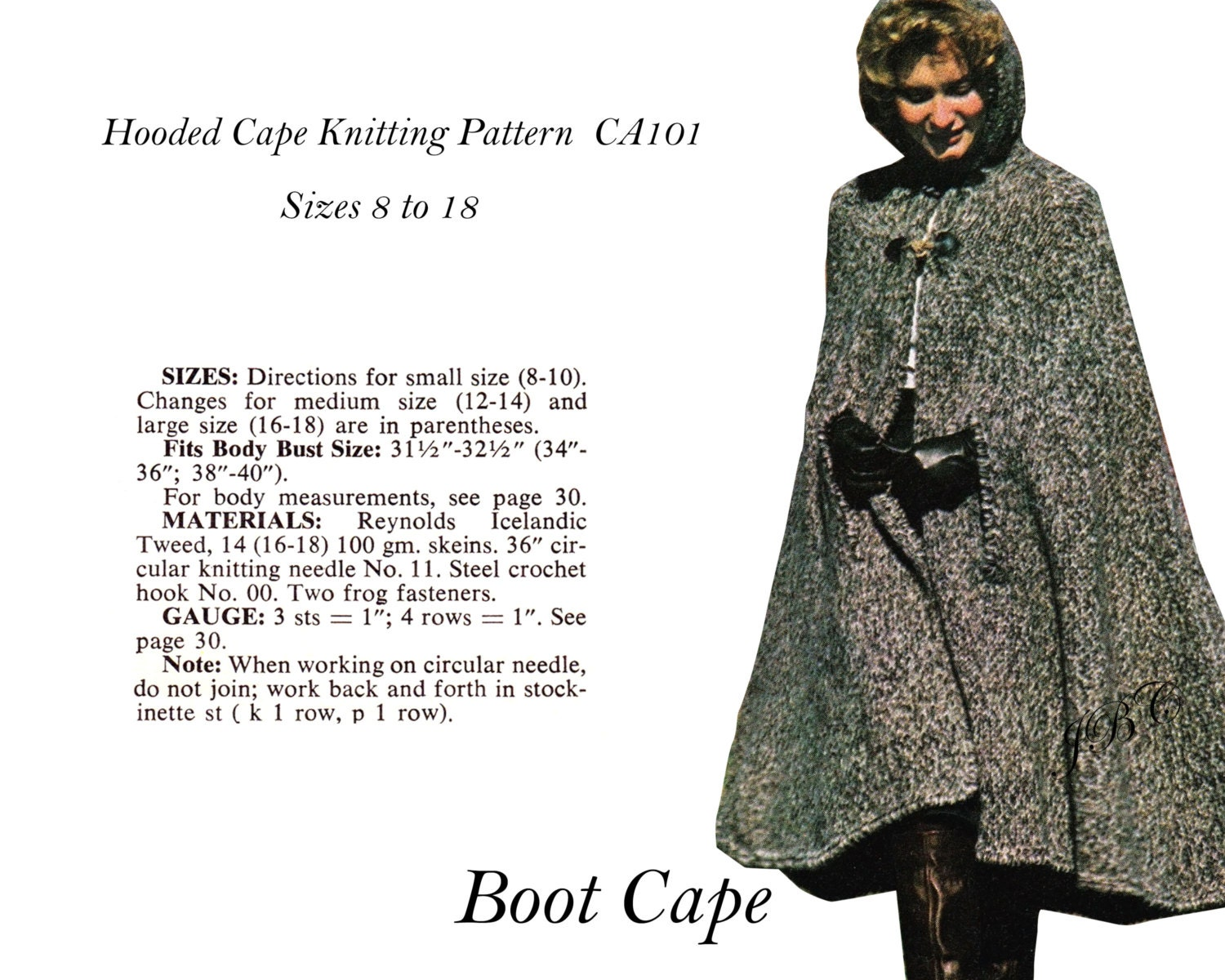Cape pattern hooded boot cape knitting pattern pdf ca101 zoom bankloansurffo Image collections