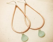 Teardrop Chandelier Hoop Earrings - copper and silver mixed metals