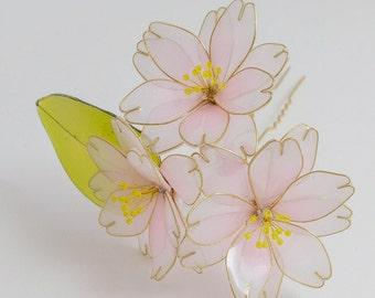 Resin Flower Kanzashi, Floral Hair Accessory, Double Sakura, Cherry Blossom Hair Stick, Japanese Geisha, Pink, Green