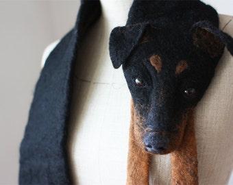 Dog - felted wool animal scarf