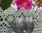 Matte Silver Plated Leaf Earrings