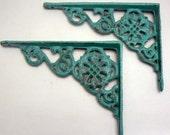"Wall Bracket Cast Iron Shelf Ornate 4 5/8"" x 6 3/8"" Brace Aqua Turquoise Floral Decorative 1 Pair (2 individual brackets) Shabby Elegance"