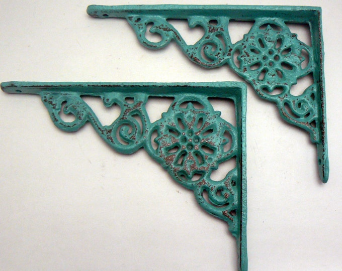 Shelf Bracket Cast Iron Floral Shabby Chic Turquoise Brace Pair DIY Home Improvement