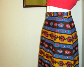 Vintage 70's Midi/Maxi Skirt / Paisley Ethnic Print / Boho Style / Prestige of Boston/High Waisted Skirt