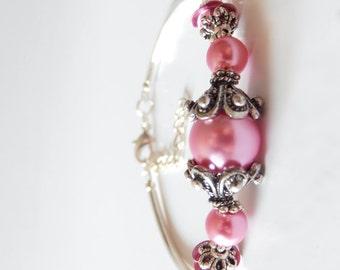 Pink Pearl Bracelet Beaded Bracelet Antiqued Silver Rose Pink Wedding Jewelry Bridesmaid Bracelet Sets Flexible Bangle Adjustable Length