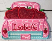 Apple Truck - Iron On or Sew On Applique - Custom Made Embroidered Patch