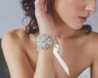 Crystal Bridal Cuff | Ivory Wedding Bracelet | Rhinestone and Pearl Cuff Bracelet | Silver Beaded Cuff | Wedding Jewelry [Melina Cuff]