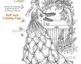 Fay Goddess Fairy Tangles Printable Coloring Sheets Adult