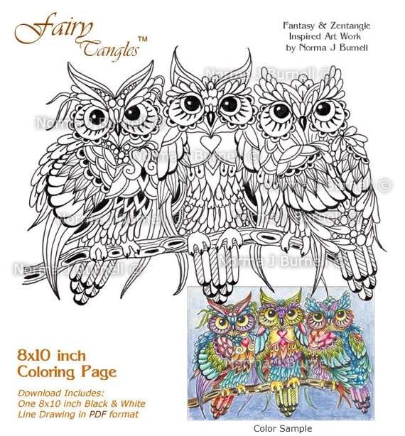 Threesome Three Owls in a Tree Fairy-Tangles Adult Printable Coloring Book Pages Owl Colouring Sheets by Norma J Burnell Owls to Color