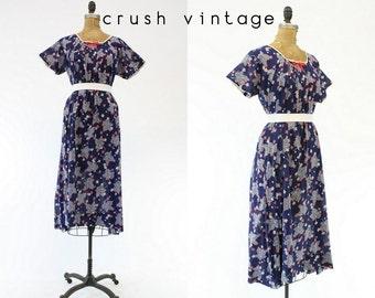 30s Dress Novelty Print Large  / 1930s Vintage Dress Cotton Leaf Print  /  Renville County Chemise
