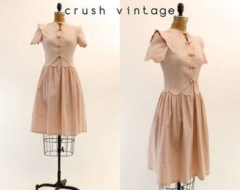 40s Dress XS Small / 1940s Vintage Pink Polka Dot Cotton Pique Frock / Sweet Tart Dress