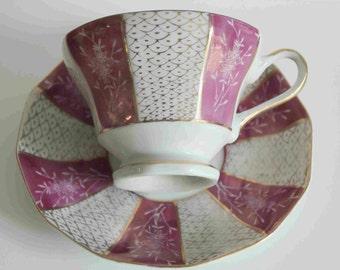 vintage pink opalescent porcelaine Japanese Tea cup and saucer-B-953 Japan-gold scale designs-gold handle