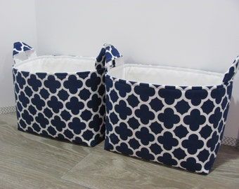 2 LARGE Fabric Organizer Baskets - Storage Container Bin - Diaper Bag - Toy Bin - Diaper Storage - Baby Gift - Quatrefoil in navy and white