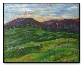 Contemporary Landscape Painting 16x20 Fine Art Acrylic on Canvas in Frame modern colorful expressive mountains fields Free Shipping