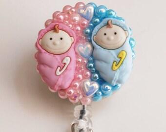 Cute Baby Twin ID Badge Reel - Retractable ID Badge Holder - Zipperedheart
