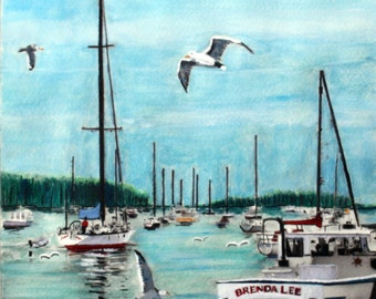 A Stillness in Rockport Maine   8X10  original watercolor painting
