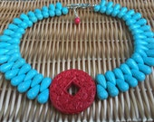Blue and Red Necklace.Chunky Statement Necklace.Turquoise Jewelry.Unique Gift for HER.