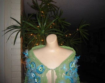 Crochet Olive and Turquoise Capelet, Shawl, Shabby Chic, Boho,  Wedding,  Fantasy, Fairy , Wrap,  Romantic.