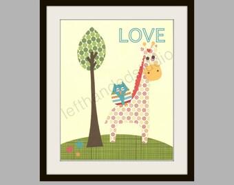Giraffe and Owl Childrens Art Print, Kids Room Decor, Nursery Art Print, LOVE,  8x10 Art Print, Personalized