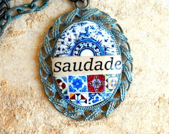 Portugal Antique Azulejo Tile Replica Majolica  Necklace - SAUDADE- Azulejo COLLAGE  Coimbra Blue Pottery Dish - Individually Placed - OOAK