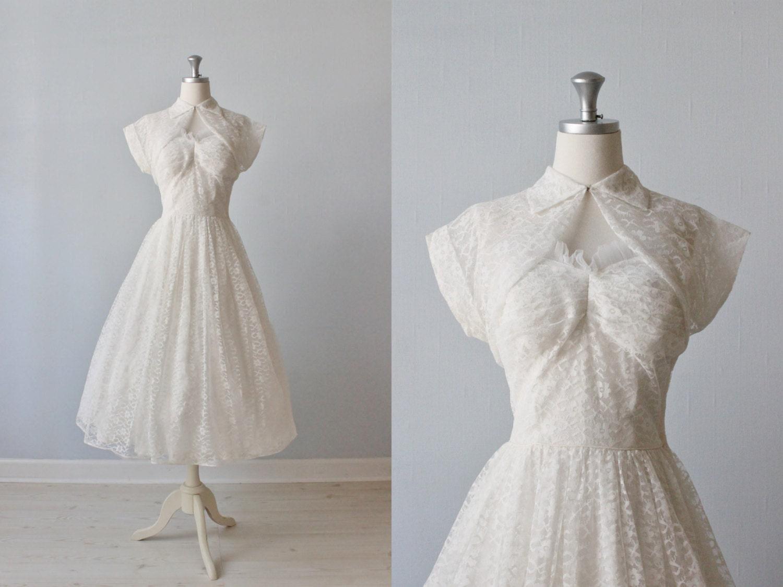 Tea length wedding dress 1950s wedding dress strapless for 1950s tea length wedding dress