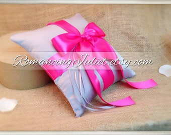 Romantic Satin Ring Bearer Pillow...You Choose the Colors...Buy One Get One Half Off...shown in silver gray/hot pink fuchsia
