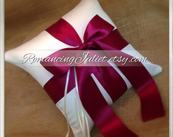 Romantic Satin Ring Bearer Pillow...You Choose the Colors...Buy One Get One Half Off...shown in ivory/burgundy