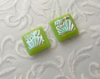 Lime Green Earrings - Dichroic Earrings - Stud Earrings - Post Earrings - Fused Glass - Glass Earrings - Small Post X1691
