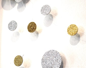 Buy 2 Get 1 FREE - Gold and Silver Glitter Polka Dot Garland - Party Decor - You Choose Colors