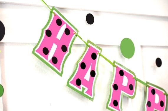Watermelon Themed Birthday Banner, Pink Watermelon Themed Party, Pink Picnic Birthday Banner, Pink Watermelon HAPPY BIRTHDAY Banner
